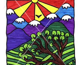 Coloring. Scheme for coloring with felt-tip pens or pencils. Mountain landscape. For adults and children