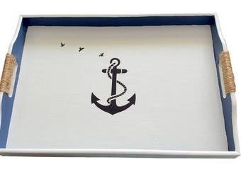 Nautical Serving Tray- Wooden Serving Tray-Anchor tray  - Ocean Theme decorative Tray Navy blue tray, Beach Decor,  Beach Design