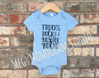 Baby Boy Trucks, Ducks and Big Ole Bucks Onesie!