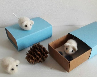Miniature felted mouse in matchbox keepsake small gift stocking stuffer