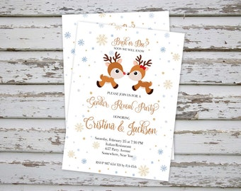 Buck or Doe Baby Shower Invitation, Winter Buck or Doe Gender Reveal Invitation, Deer Baby Shower Invite, Deer Gender Reveal Invitation DIY