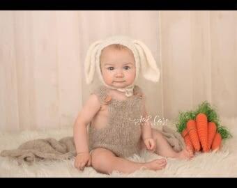 Romper and Bunny Bonnet Set, NB Romper, 3-6 months Romper, 6-9 months Romper, Romper and Bunny Hat, Alpaca yarn