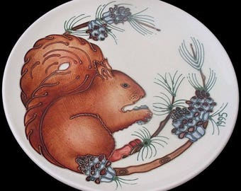 Moorcroft Pottery Year Plate With Squirrel Design - Limited Edition