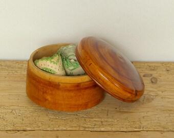 Vintage wooden trinket box Swedish handcarved polished.Ring box.Scandinavian round storage box.Desk Organizer. jewelry storage
