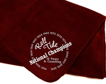 ALABAMA National Champions ROLL TIDE fleece Blanket - great for tailgating, great for gifts!