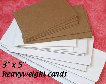 """Headband Cards (50) 3"""" x 5"""" Heavyweight Kraft or White Chipboard Hair Tie Cards Blank Cards Thick Sturdy Product Display Cards Shop Supplies"""