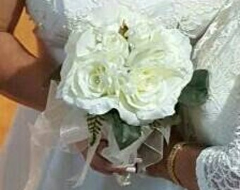 bridal bouquet ivory roses, stephanotis and peons