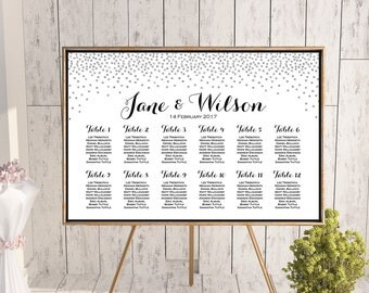 Silver Find your Seat Chart, Printable Wedding Seating Chart, Wedding Seating Poster, Wedding Seating Sign, Wedding Seating Board TH63 WC148