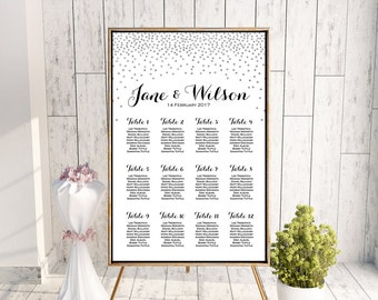 Silver Find your Seat Chart, Printable Wedding Seating Chart, Wedding Seating Poster, Wedding Seating Sign, Wedding Seating Board WC149 TH63