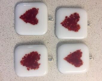 Valentines Heart fused glass pendant