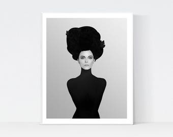 Beauty print, Black and White Abstract Wall Art, Printable Instant Download, Modern print, home decor, scandinavian art, beauty portrait