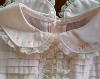 Reduced Vintage  Pink Toddler Girls or Large Doll Sunday or Party Dress Ruffles Tucks Embroidery and Waist Tie