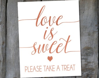 Instant Download Printable Rose Gold Love is Sweet Sign - Candy Bar Print - Wedding Favor Sign  (ID156)