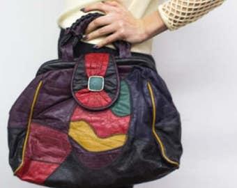 Vintage Multicolored Patchwork Handbag w/ Strap
