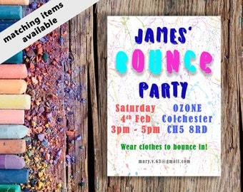 Bounce / trampolining party invitation. Download and print