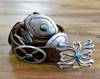Unique Vintage Sterling Silver Concho Belt on Leather