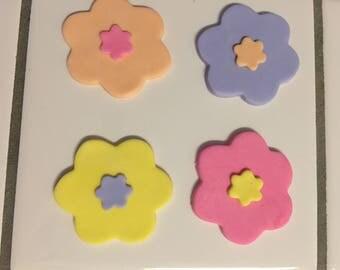 Fondant flower cupcake topper