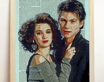 Heathers Print Christian Slater Movie Poster Film Retro Winona Ryder Alternative Vintage Art Upcycled Decor Book Dictionary