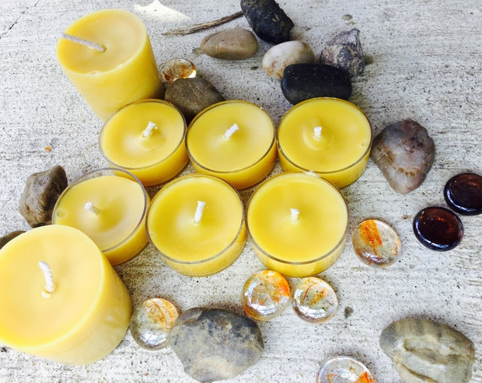 100% Pure Beeswax Tealights an Votives Gift Pack