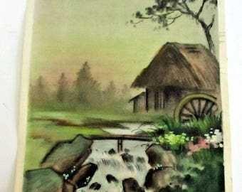 Vintage Japanese Watercolor Old Water Mill Rapids Waterfall Spring Landscape Painting Signed Kitano