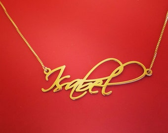 Custom Gold Chain With Name My Name Gold Necklace 14k Gold Name Pendant