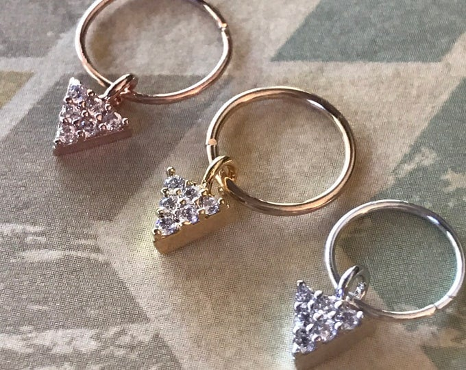 Triangle Diamond CZ Cartilage Earring Hoop Septum Ring Earring Rose Gold Silver Tiny Rook Tragus Helix Conch Hex Dangle Cartilage Hoop
