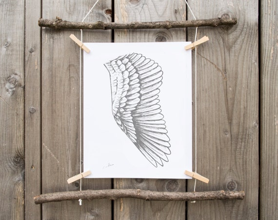 GRAY WING and white,home decor art, drawing feather wall art, black white poster, black grey decor, style gifts, fly, wings angel, nursery