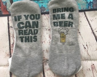 If You Can Read This Bring Me A Beer Low Cut Socks