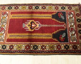Cr1900-1939s AntiqueTribal Wool Pile Prayer Rug-2'6''x4' Turkey