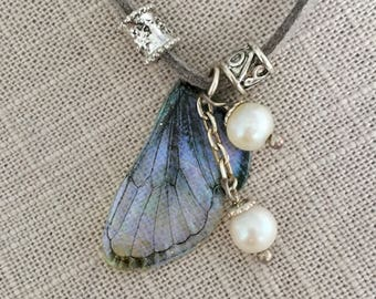 Blue Twilight Sprite Wing Necklace