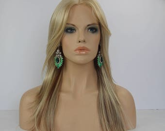Blonde  & Golden Brow Mix Long Straight Layered |Center Part Monofilament Synthetic Hair Wig-12/16/613