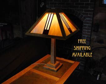mission/craftsman style stained glass lamp, free shipping