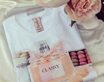 Lovely new t-shirt white cotton perfume classy miss cheriè french rosè profume macarons pink