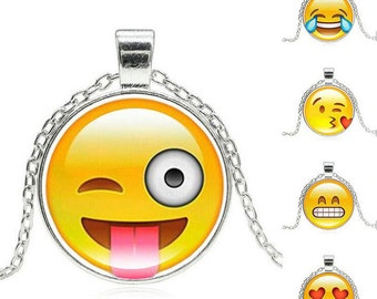 Cute Emoj Emoticon Necklace Pendant Emoji Stocking Gift