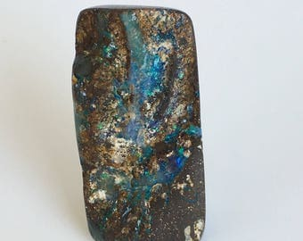 Boulder Opal 85ct Large Boulder Opal Cabochon Focal Bead Rough Surface Green Fire Free Shipping