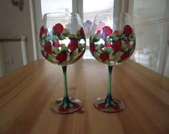 Set of Two Extra Large Hand Painted Red Rosebud Wine Glasses