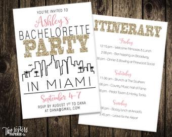 Miami Bachelorette Party Invitation and Itinerary - MIAMI - Printable Invitation