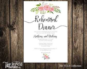 FLORAL REHEARSAL DINNER Invitation - Tula Collection - Floral Rehearsal Dinner - Pink Floral Rehearsal Dinner - Simple Rehearsal Dinner