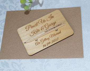 Wooden Save The Date cards, save the date, wooden wedding stationery, bespoke wedding, pencil us in, wedding invitations, wooden invitation