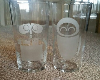 Wall E and Eve inspired etched pint glasses