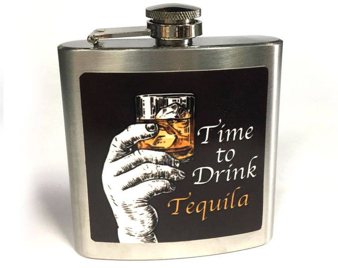 Flask 6oz, Tequila, Hip flask, Stainless flask, sublimated, customizable, groomsmen gift, gift for friends or yourself