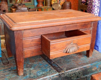 Small low Table or bedside teak room original 52x29x27cm India Tha-daga