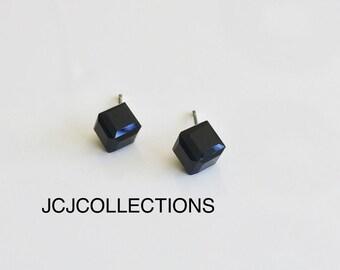 Black Austrian Crystal Stud Earrings