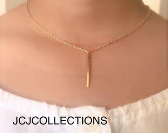 Drop Bar Necklace, Simple Necklace, Long Necklace
