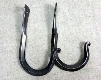 2 Hooks, Forged Iron, Wall Peg