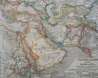 1861 MIDDLE EAST original antique hand coloured map
