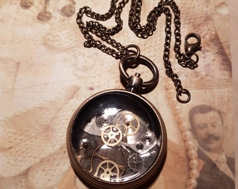 Steam punk inspired pocket watch necklace
