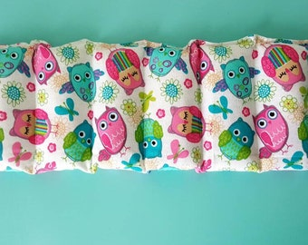 Rice bag / multi color owl print  / rice heating pad / pain relief/  heat and cold therapy pack / relaxation  / microwavable
