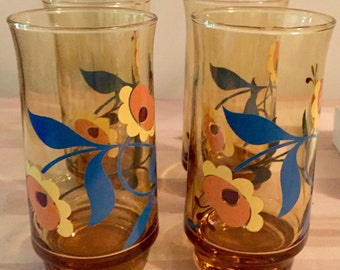 Vintage Flower Drinking Glasses (Set Of 4)