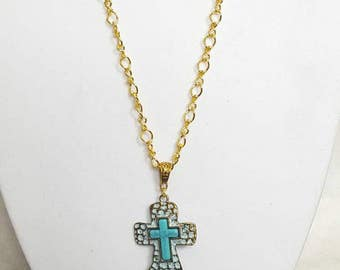 Gold & Turquoise Cross Necklace